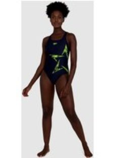 Women's Boomstar Placement Racerback Swimsuit Navy - 32